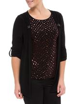 Anna Rose Moc Shimmer Top And Cardigan Red/Black - Gallery Image 2