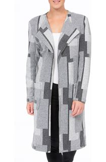 Pattered Open Lined Coat - Grey Mix