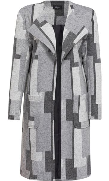 Patterned Open Lined Coat Grey Mix