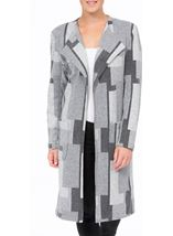 Patterned Open Lined Coat Grey Mix - Gallery Image 2