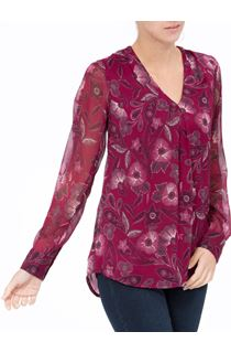 Floral Printed Chiffon V neck Top