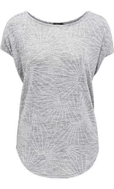 Loose Fitting Short Sleeve Shimmer Top Silver