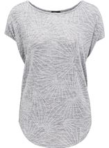 Loose Fitting Short Sleeve Shimmer Top Silver - Gallery Image 1