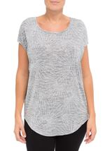 Loose Fitting Short Sleeve Shimmer Top Silver - Gallery Image 2