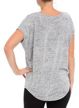 Loose Fitting Short Sleeve Shimmer Top Silver - Gallery Image 3