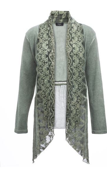 Long Sleeve Lace Trim Cardigan Green