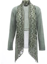 Long Sleeve Lace Trim Cardigan Green - Gallery Image 1