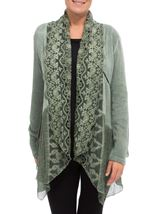 Long Sleeve Lace Trim Cardigan Green - Gallery Image 2