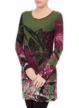 Embellished Long Sleeve Printed Tunic Pesto/Merlot - Gallery Image 2