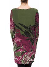 Embellished Long Sleeve Printed Tunic Pesto/Merlot - Gallery Image 3