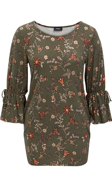 Flared Sleeve Floral Print Tunic Pesto