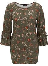 Flared Sleeve Floral Print Tunic Pesto - Gallery Image 1