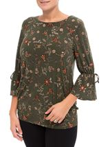 Flared Sleeve Floral Print Tunic Pesto - Gallery Image 2