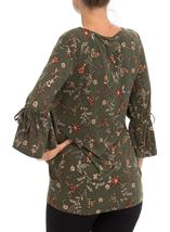 Flared Sleeve Floral Print Tunic Pesto - Gallery Image 3