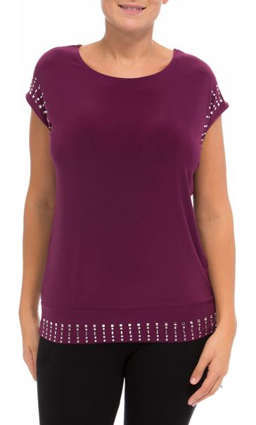 Embellished Loose Short Sleeve Top Merlot