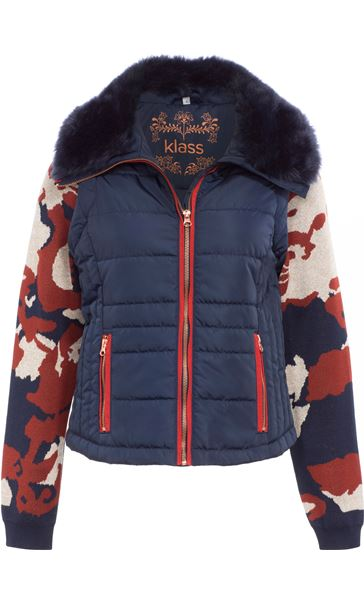 Gilet With Removable Knitted Sleeves Navy