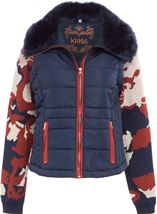 Gilet With Removable Knitted Sleeves Navy - Gallery Image 1