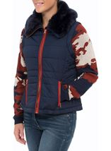 Gilet With Removable Knitted Sleeves Navy - Gallery Image 2