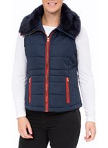 Gilet With Removable Knitted Sleeves Navy - Gallery Image 3