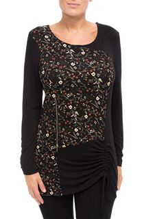 Long Sleeve Floral Panel Jersey Tunic