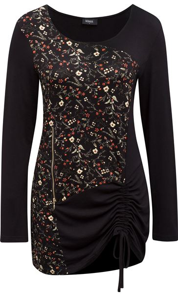 Long Sleeve Floral Panel Jersey Tunic Black/Orange