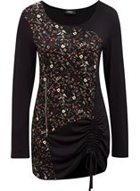 Long Sleeve Floral Panel Jersey Tunic Black/Orange - Gallery Image 1