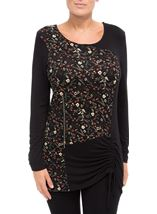 Long Sleeve Floral Panel Jersey Tunic Black/Orange - Gallery Image 2