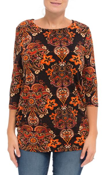 Paisley Printed Jersey Tunic Oranges