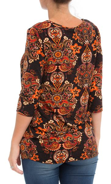 Paisley Printed Jersey Tunic Oranges - Gallery Image 2