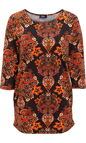 Paisley Printed Jersey Tunic Oranges - Gallery Image 4