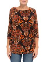 Paisley Printed Jersey Tunic Oranges - Gallery Image 1
