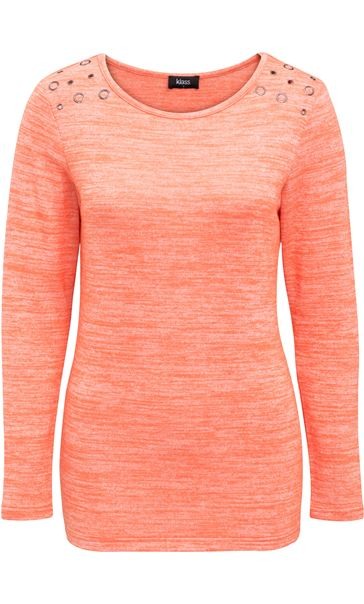 Eyelet Knit Long Sleeve Top Orange
