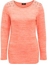 Eyelet Knit Long Sleeve Top Orange - Gallery Image 1