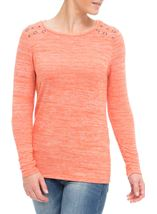 Eyelet Knit Long Sleeve Top Orange - Gallery Image 2