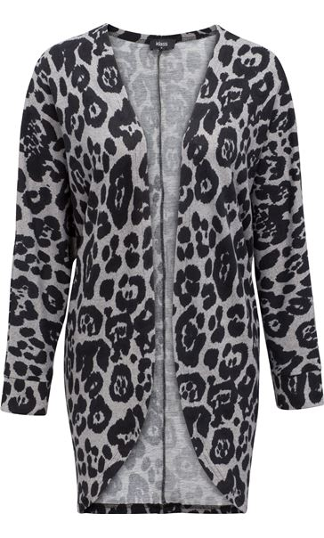 Long Sleeve Animal Print Cardigan Grey/Black