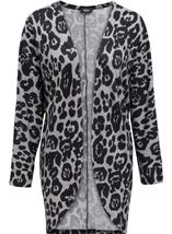 Long Sleeve Animal Print Cardigan Grey/Black - Gallery Image 1