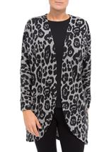 Long Sleeve Animal Print Cardigan Grey/Black - Gallery Image 2