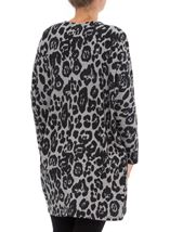 Long Sleeve Animal Print Cardigan Grey/Black - Gallery Image 3