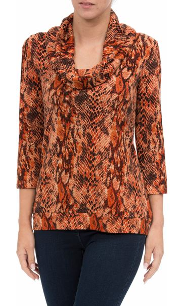 Animal Printed Brushed Knit Cowl Neck Top Orange