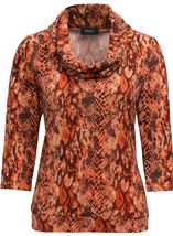 Animal Printed Brushed Knit Cowl Neck Top Orange - Gallery Image 3