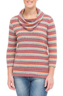 Striped Cowl Neck Knit Top
