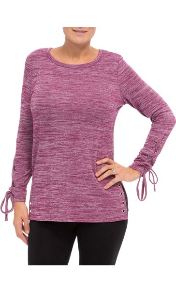 Lace Up Long Sleeve Knit Top Merlot