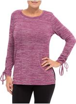 Lace Up Long Sleeve Knit Top Merlot - Gallery Image 1