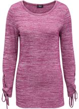 Lace Up Long Sleeve Knit Top Merlot - Gallery Image 2