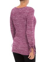 Lace Up Long Sleeve Knit Top Merlot - Gallery Image 3