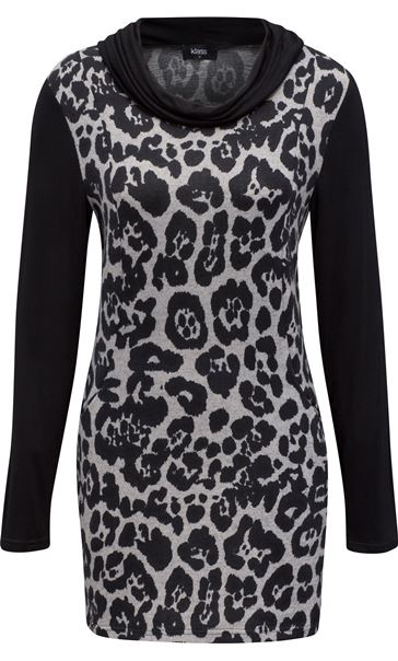 Cowl Neck Animal Print Tunic Grey/Black
