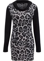Cowl Neck Animal Print Tunic Grey/Black - Gallery Image 1