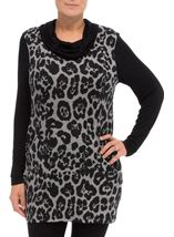 Cowl Neck Animal Print Tunic Grey/Black - Gallery Image 2