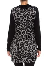 Cowl Neck Animal Print Tunic Grey/Black - Gallery Image 3