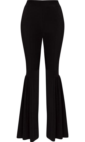 Frilled Pull On Trousers Black
